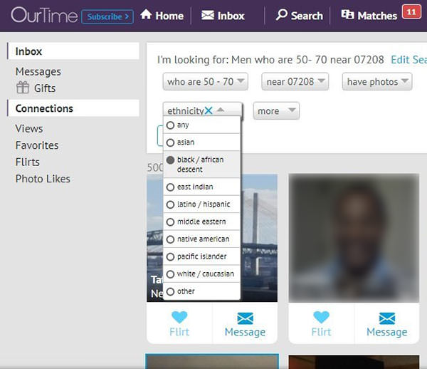Filter your search with OurTime