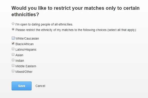 Limit search to black singles on Zoosk