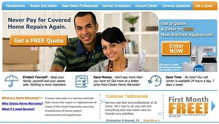 Choice home warranty home page