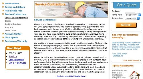 Choice home warranty service contractors