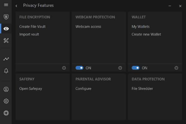 Protection features with Bitdefender