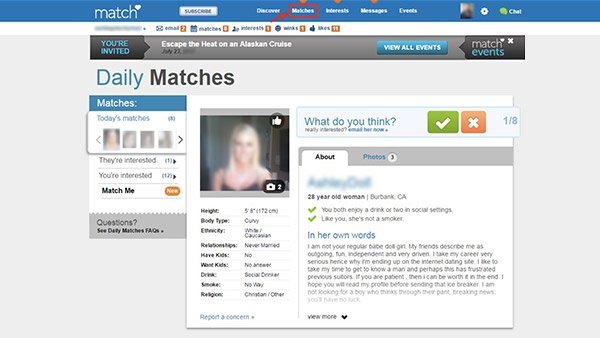 Match daily matches