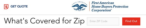 First American Home Warranty's Covered for zip