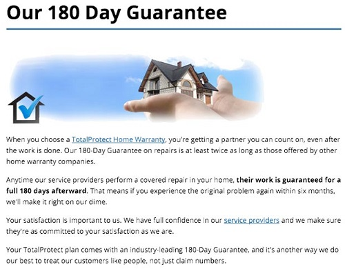 Total protect home warranty 180 day guarantee