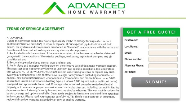 Advanced Home warranty terms of service agreement