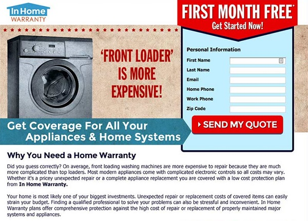 In Home warranty first month free coupon