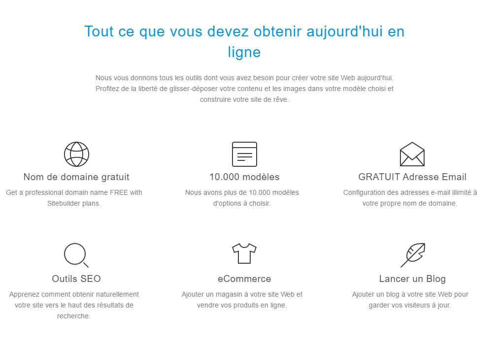 Fonctionnalités marketing de SiteBuilder
