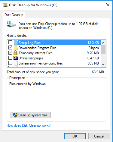 Follow these steps for Disk Cleanup for Windows