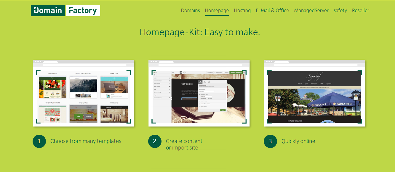 The easy-to-use site builder at Domain Factory