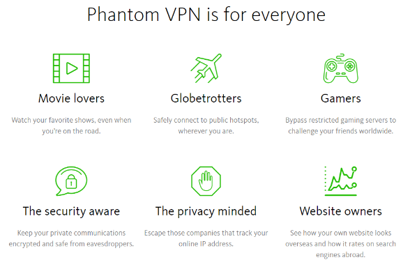 Phantom VPN offers features for everyone