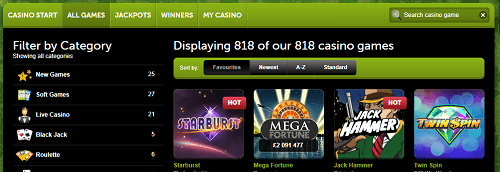 ComeOn! has a great range of casino games