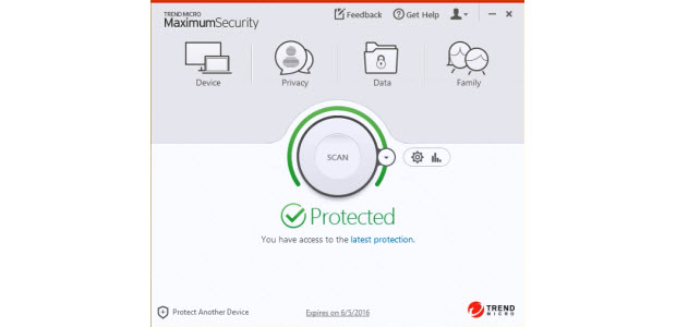 Dashboard of the Trend Micro Maximum Security Software package.
