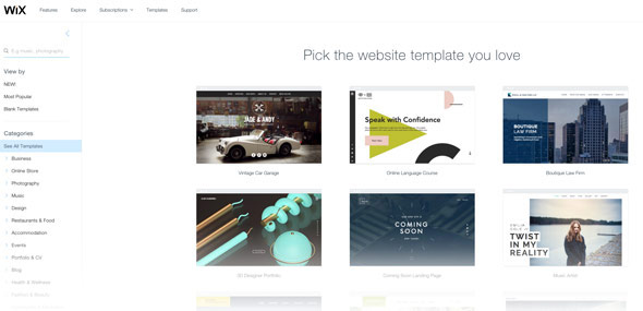 Wix offers a plethora of templates