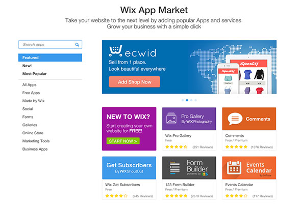 Choose from over 250 apps in the Wix App Market