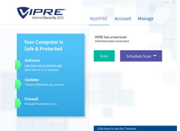 Dashboard of the VIPRE Internet Security 2015 Software package.