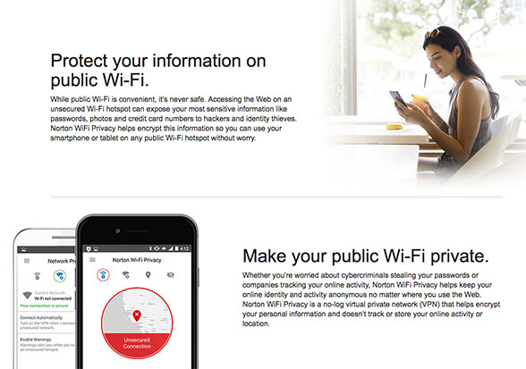 Protect your information on public Wi-Fi or make your Wi-Fi private with Norton
