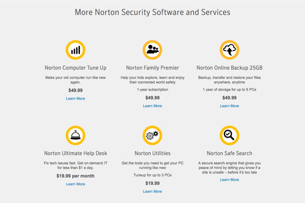 Norton has a variety of extra services for your protection