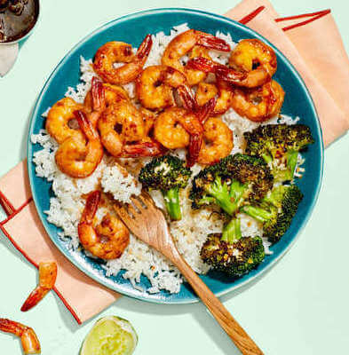 Garlic & Soy-Glazed Shrimp with Charred Broccoli & Hot Green Pepper Sauce