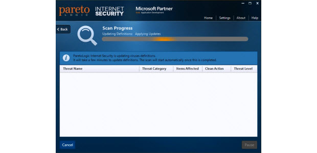 Dashboard of the ParetoLogic Internet Security Software package while running a system scan.