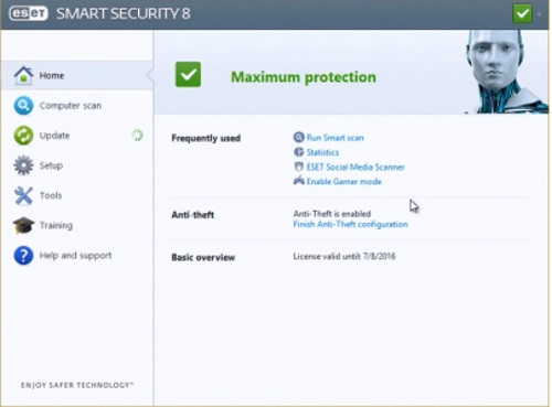 Dashboard of the ESET Multi-Device Security Software package.