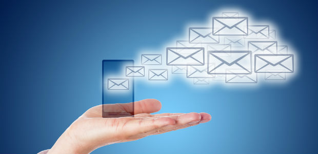Email icons shape a cloud computing symbol