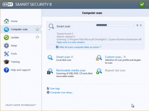 Dashboard of the ESET Multi-Device Security Software package while running a system scan.