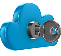 Icon of a blue cloud with key