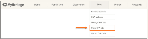 MyHeritage drop-down menu