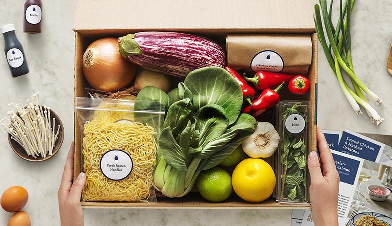 Blue Apron box of ingredients