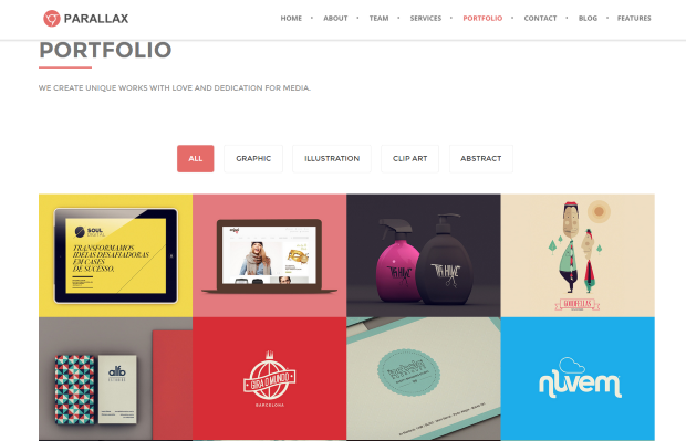 Weebly Parallax template portfolio view