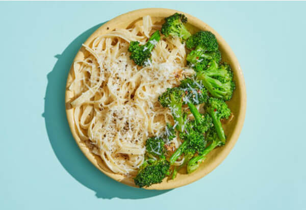 Fettuccini Alfredo with Chili-Garlic Broccoli