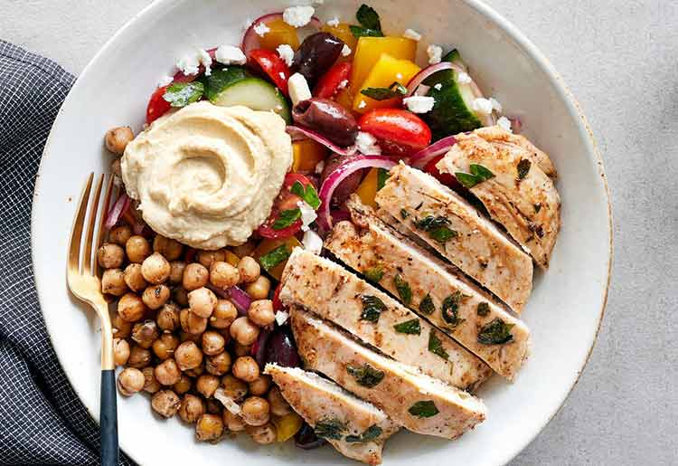 Chicken Horiatiki with toasted za'atar chickpeas and feta