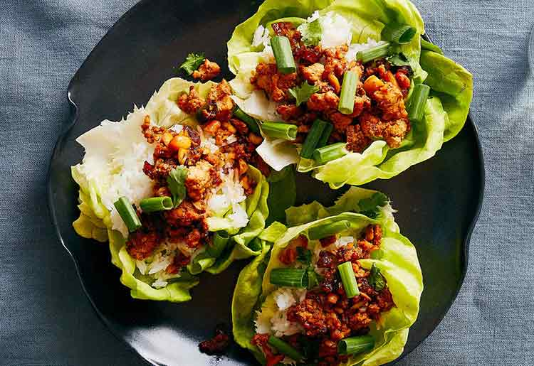 Taiwanese chicken lettuce wraps with cashews and dates