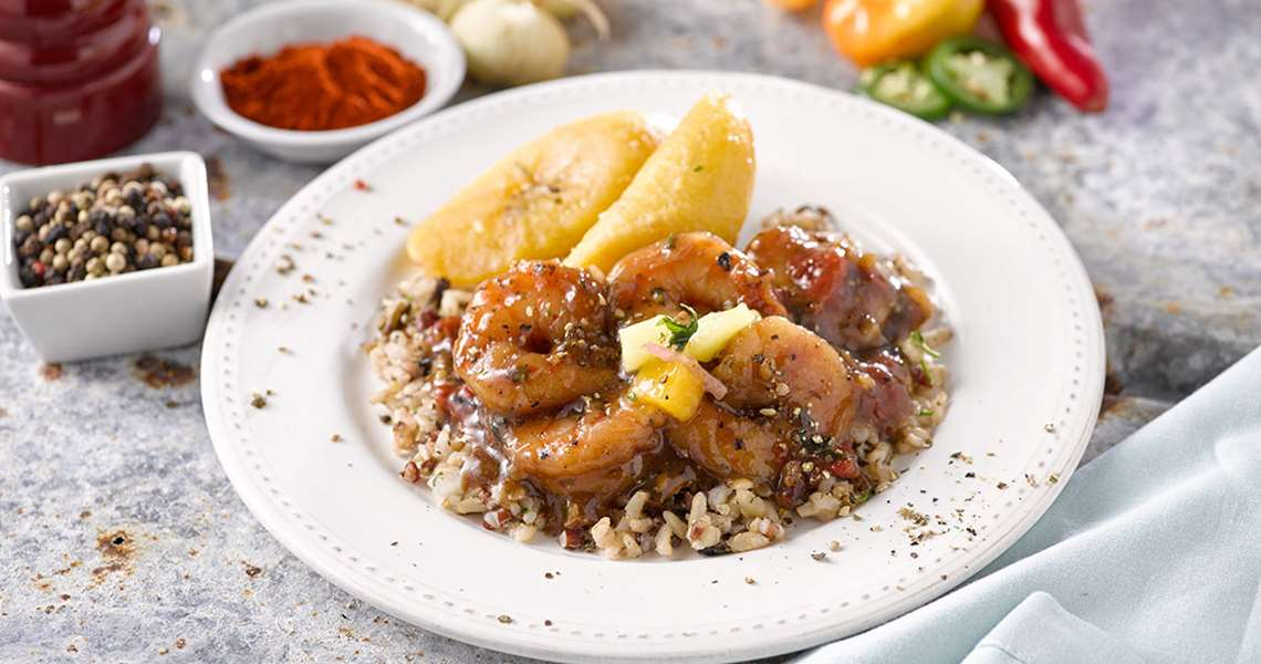 Jamaican style black pepper shrimp