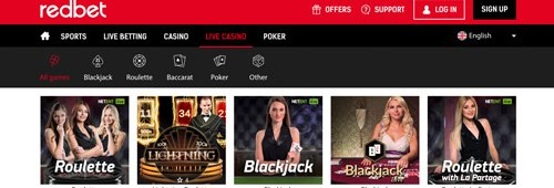 You can also enjoy casino, live casino and poker games at Redbet