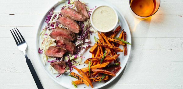 Soy-Glazed Steak with Sweet Potato Fries and Wasabi Mayo