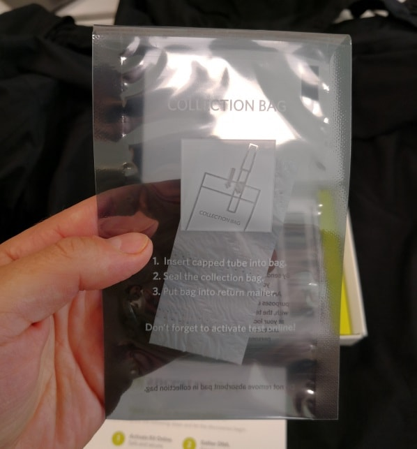 Ancestry's sample collection bag