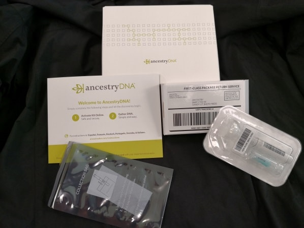 Contents of the Ancestry DNA testing kit