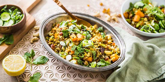 Jeweled Biryani with Apricots & Curry Roasted Butternut Squash