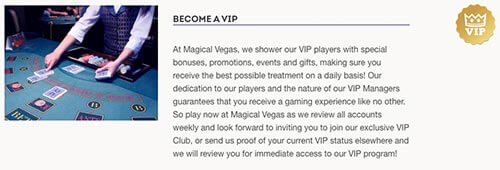 Join the Magical Vegas VIP Programme today