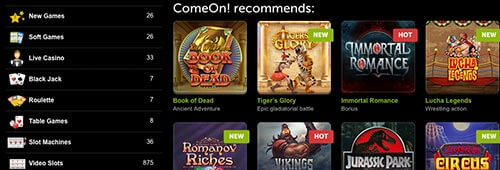 ComeOn! also offer a fantastic range of games for your enjoyment