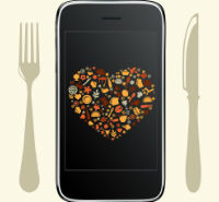 Graphic of mobile phone with silverware