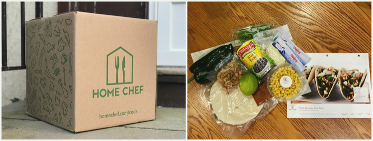 Home Chef box and ingredients