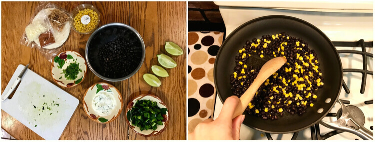 Cooking Home Chef vegetarian tacos