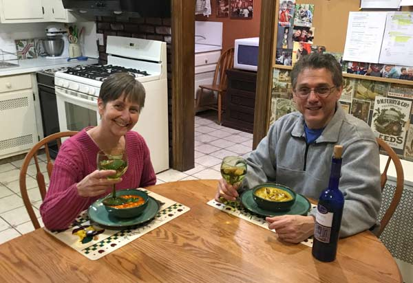 Empty nester couple enjoying meal kits at home