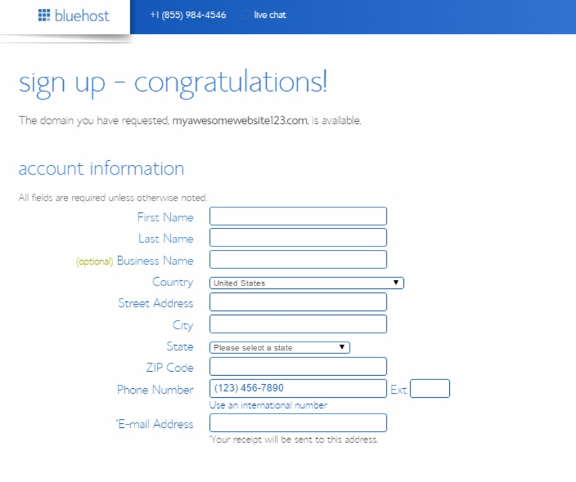 Bluehost's Sign Up