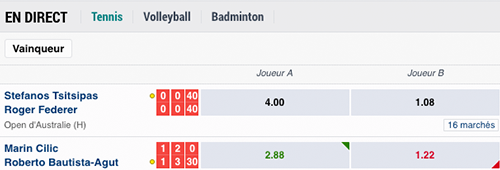 les sports disponibles sur Betstars