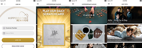 Enjoy games on the Hippodrome Mobile Casino app