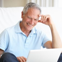 Senior man flirting online