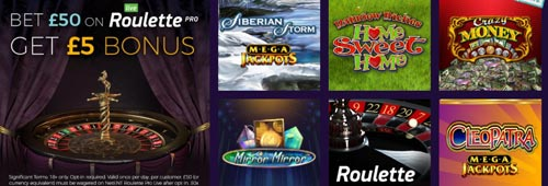 A range of games are available